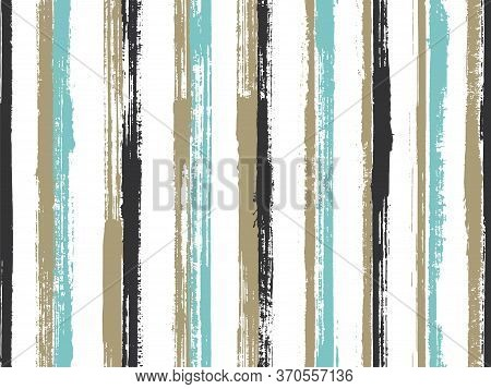 Ink Freehand Parallel Lines Vector Seamless Pattern. Trendy Gift Wrapping Paper Design. Retro Geomet