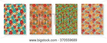 Vintage Floral Patterns Set. Psychedelic Or Hippie Style Backgrounds. Abstract Flowers And Groovy Co