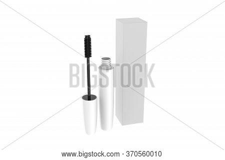 Mascara Bottle and Brush. Fashionable cosmetics Makeup for Eyes, Black Mascara wand and Tube Isolate