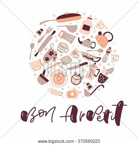 Greeting Card With Bon Appetit Calligraphy Lettering Vector Text For Food Blog Kitchen. Hand Drawn C