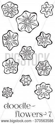 Doodle Flowers 7 Hand Drawn Vector Image Set, Simple Line Drawing Illustration Variations