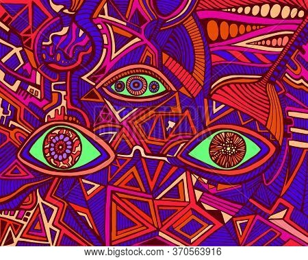 Trippy Psychedelic Shamanic Bright Eyes Crazy Patterns. Fantastic Art With Decorative Eyes