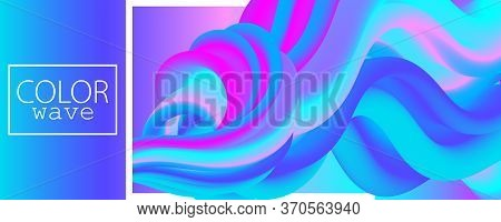 Fluid Poster. 3d Wave. Liquid Color. Fluid Background. Color Design. Abstract Flow. Vibrant Color. 3