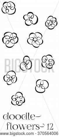 Doodle Flowers 12 Hand Drawn Vector Image Set, Simple Line Drawing Illustration Variations