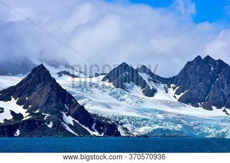 Glacier Coming Down To The Sea On Elephant Island, Antarctica.