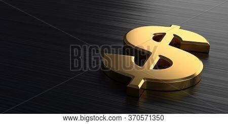 Golden dollar sign lies on a dark chrome background. 3d rendering illustration