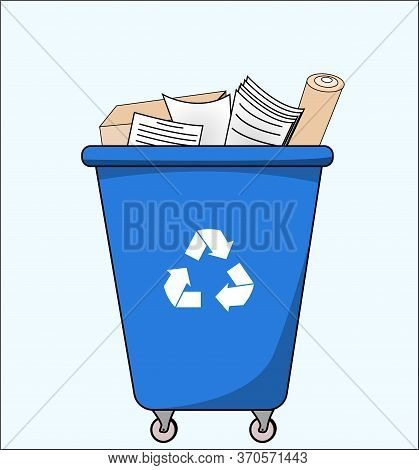 Trash Dumpster With Paper, For Recycling. Segregate Waste, Sorting Garbage, Waste Management. Vector