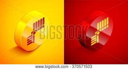 Isometric Indian Headdress With Feathers Icon Isolated On Orange And Red Background. Native American