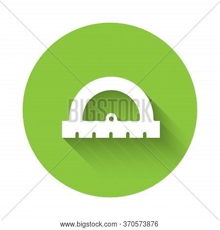 White Protractor Grid For Measuring Degrees Icon Isolated With Long Shadow. Tilt Angle Meter. Measur