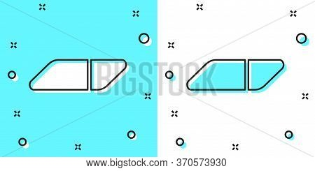Black Line Eraser Or Rubber Icon Isolated On Green And White Background. Random Dynamic Shapes. Vect