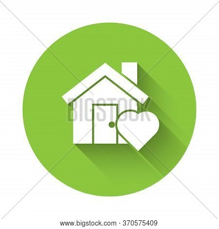 White House With Heart Shape Icon Isolated With Long Shadow. Love Home Symbol. Family, Real Estate A