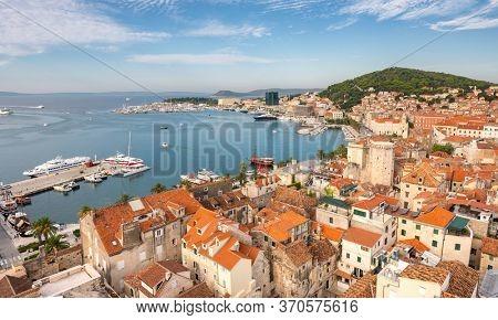 Split waterfront panoramic aerial view, Dalmatia, Croatia. Historic old town of Split