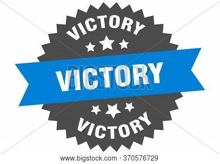 Victory Sign. Victory Circular Band Label. Round Victory Sticker