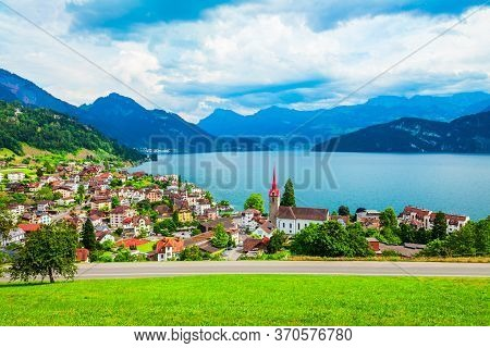 Weggis Aerial Panoramic View. Weggis Is A Town On The Northern Shore Of Lake Lucerne In The Canton O