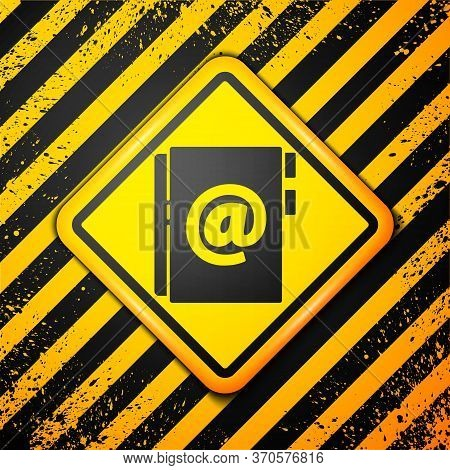 Black Address Book Icon Isolated On Yellow Background. Notebook, Address, Contact, Directory, Phone,