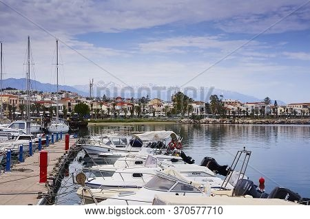Rethymno, The Crete Island, Greece - May 30, 2019: Beautiful Yachts In The Harbour Of Rethymno, The