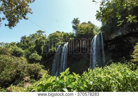 Iguazu Waterfalls In A Sunny Summer Day. Landscape, Holiday, Vacation. Photo Taken In Misiones, Igua