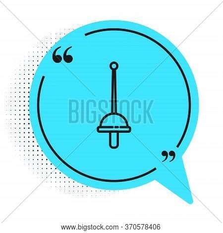 Black Line Fencing Icon Isolated On White Background. Sport Equipment. Blue Speech Bubble Symbol. Ve