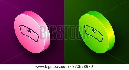 Isometric Line Windshield Icon Isolated On Purple And Green Background. Circle Button. Vector Illust