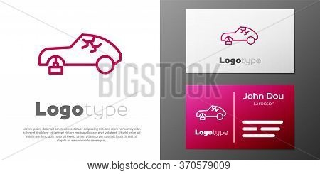 Logotype Line Broken Car Icon Isolated On White Background. Car Crush. Logo Design Template Element.