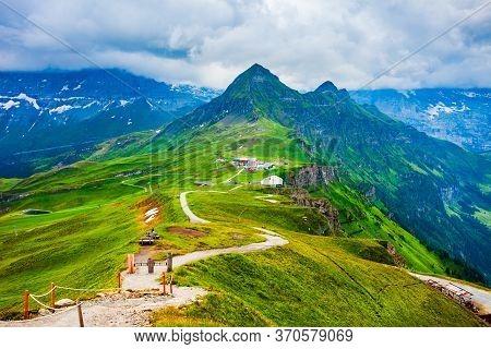 Lauterbrunnen Valley Panoramic View, Bernese Oberland Near Interlaken City In Switzerland