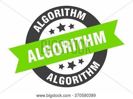 Algorithm Sign. Algorithm Round Ribbon Sticker. Algorithm Tag