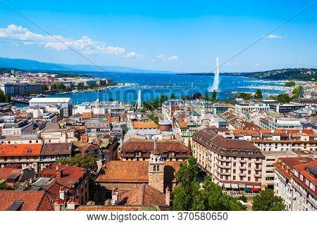Geneva Aerial Panoramic View. Geneva Or Geneve Is The Second Most Populous City In Switzerland, Loca