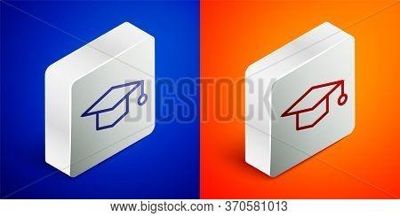 Isometric Line Graduation Cap Icon Isolated On Blue And Orange Background. Graduation Hat With Tasse