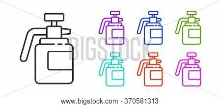 Black Line Garden Sprayer For Water, Fertilizer, Chemicals Icon Isolated On White Background. Set Ic