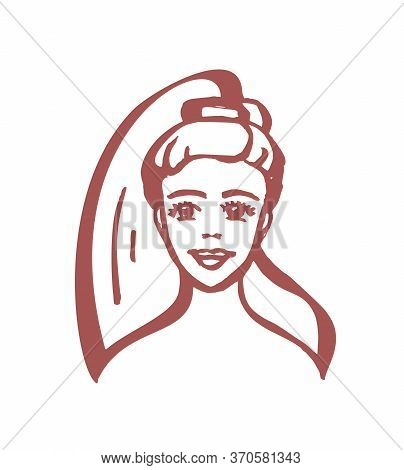 Cartoon Girl - Vector Logo In A Flat Style. Child Portrait In One Color. Princess - A Beautiful Youn