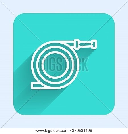 White Line Garden Hose Or Fire Hose Icon Isolated With Long Shadow. Spray Gun Icon. Watering Equipme