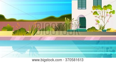Horizontal Summer View With House, Pool, Plants, Blooming Tree. Panoramic Banner With Luxury Villa,