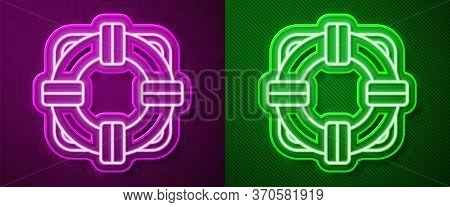 Glowing Neon Line Lifebuoy Icon Isolated On Purple And Green Background. Lifebelt Symbol. Vector Ill