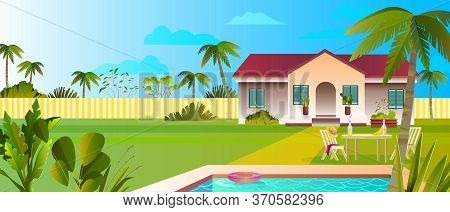 Summer Banner With Luxury Villa, Pool, Plants, Palms, Lawn, Clouds, Fence, Outdoor Furniture. Beauti