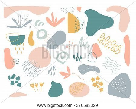 Organic Shapes Set On White Background. Hand Draw Abstract Design Elements In Pastel Colors. Minimal
