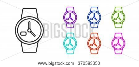 Black Line Wrist Watch Icon Isolated On White Background. Wristwatch Icon. Set Icons Colorful. Vecto