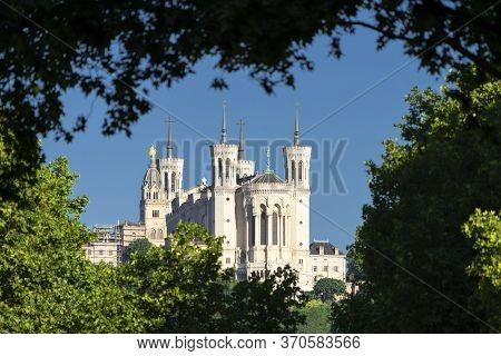 View Of Basilica Of Notre Dame De Fourviere, Lyon, France
