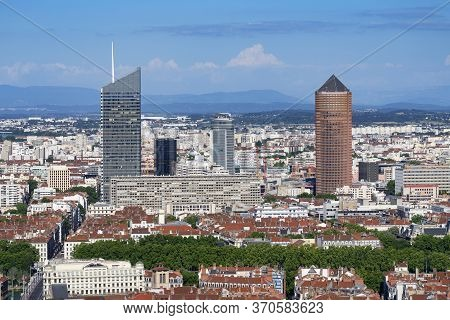 Famous View Of Lyon City, France, Europe