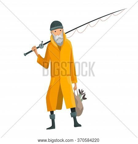 Old Bearded Man With Fish Rod And A Bag In His Hands. Caughted Fish In A Bag. Fisher In Raincoat. Su