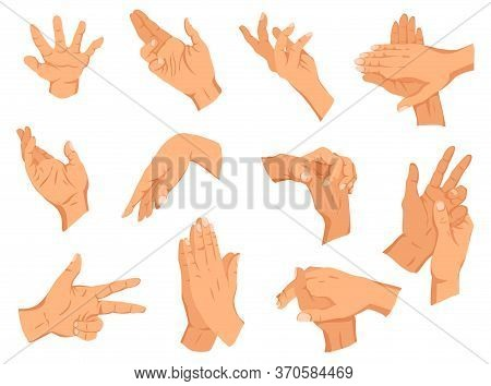 Set Of Human Hands Gestures. Different Human Finger Gesture Signs Collection. Isolated Vector Illust