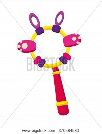 Children Toy. Cute Funny Toy For Little Kid. Vector Rattle