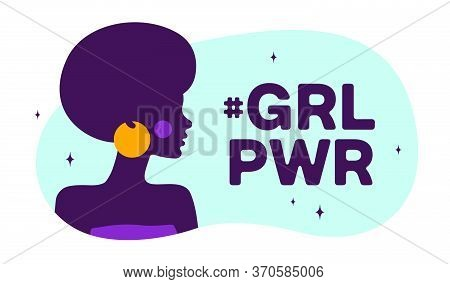 Girl Power. Modern Flat Character. Silhouette Woman Speak Speech Bubble Text Girl Power. Simple Char