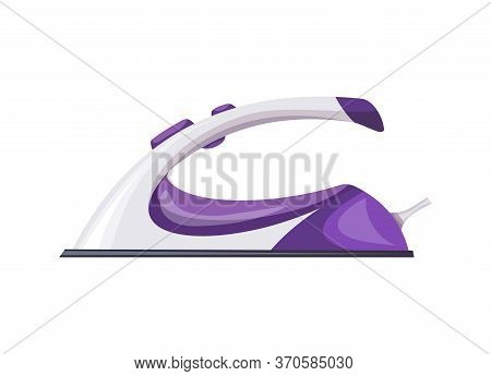 Iron Steamer. Smoothing Iron. Vector Iron. Ironing Electric Household Appliance. Steamer For Laundry