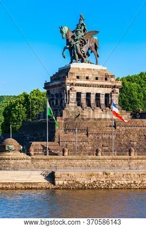 Memorial Of German Unity At Deutsches Eck In Koblenz. Koblenz Is A City On The Rhine, Joined By The