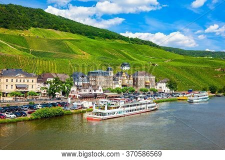 Bernkastel Kues Aerial Panoramic View. Bernkastel-kues Is A Well-known Winegrowing Centre On The Mos