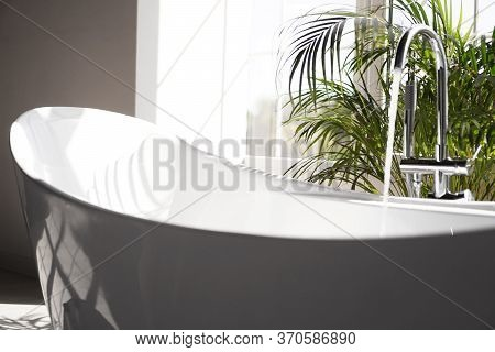 Modern Bathroom. White Bath With Green Palm Branches. Bright Room With Sunlight From A Large Window.
