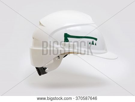 White Protective Helmet For Construction And For Loggers.