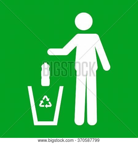 Icon Of Of A Person Throwing A Plastic Bottle In A Trash Can. Recycling Concept