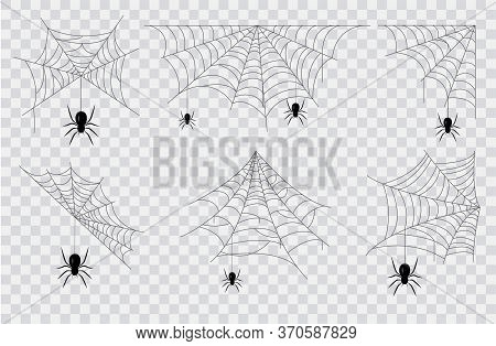 Set Of Black Spiders Hanging From Seven Different Spider Webs Of Assorted Patterns For Halloween Con