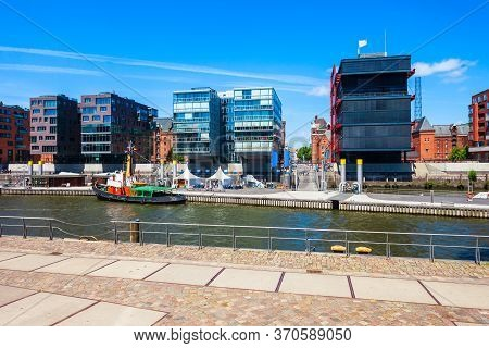Canal In The Hafencity District Of Hamburg City Centre In Germany